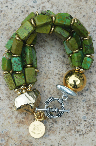 Designer Green Turquoise Copper & Gold Multi-Strand Statement Bracelet