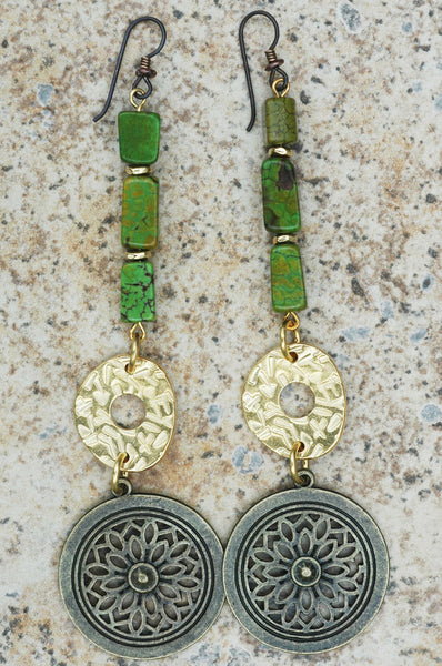 Dramatic Green Turquoise, Gold and Bronze Coin Statement Long Earrings
