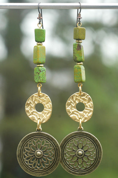 Dramatic Green Turquoise, Gold and Bronze Medallion Statement Earrings