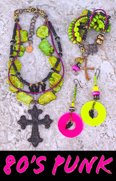 Punk Style Gothic Distressed Green, Black and Fuchsia Cross Mixed Media Jewelry Collection