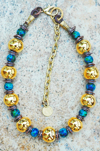 Aegean Blue, Bronze, Copper, Leather and Gold Ball Statement Necklace