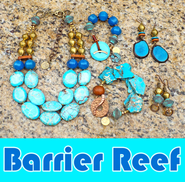 Barrier Reef Jewelry Collection featuring aqua impression jasper and African brass