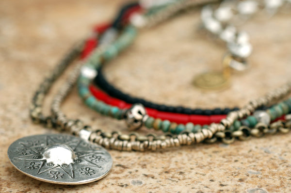 Red, Black, Turquoise, Chain and Silver Medallion Multi-Strand Necklace