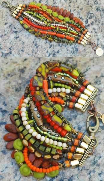 Bohemian Multi-Strand Beaded Cuff Statement Bracelet