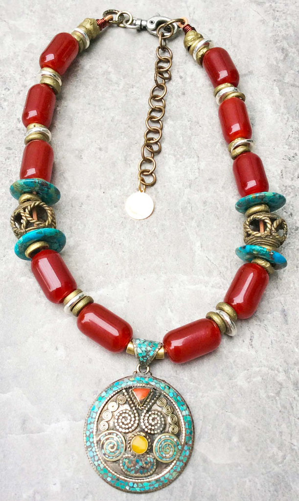 Bold and simple burgundy turquoise exotic tibetan pendant necklace aloadofball Choice Image