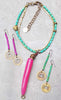 Pink and Turquoise Tusk Pendant Necklace and Coin Earrings