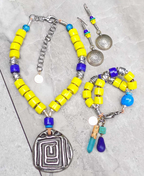 Summery and Bright Yellow, Blue and Silver Greek Inspired Jewelry