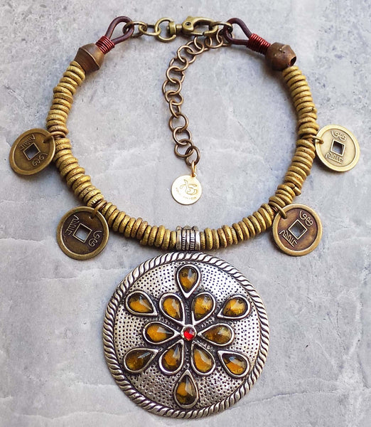 Gorgeous African Brass Ring and Tribal Naga Pendant Choker Necklace