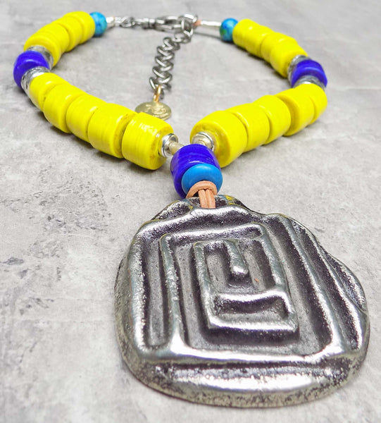 Bold and Vibrant Yellow, Blue and Silver Meandros Pendant Necklace