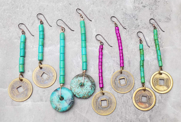 Long Exotic Turquoise and Fuchsia Chinese Coin Earrings