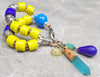 Bold and Vibrant Yellow, Blue and Silver Tribal Charm Bracelet