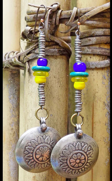 Bold and Vibrant Yellow, Blue and Silver Medallion Coin Earrings