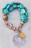 Blue Turquoise Stone, Copper and Silver Art Deco Beaded Charm Bracelet