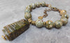 Gorgeous Green Rhyolite and Vintage Carved Jade Amulet Choker Necklace