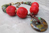 Bold and Dramatic Chinese Cinnabar & Turquoise Pendant Choker Necklace