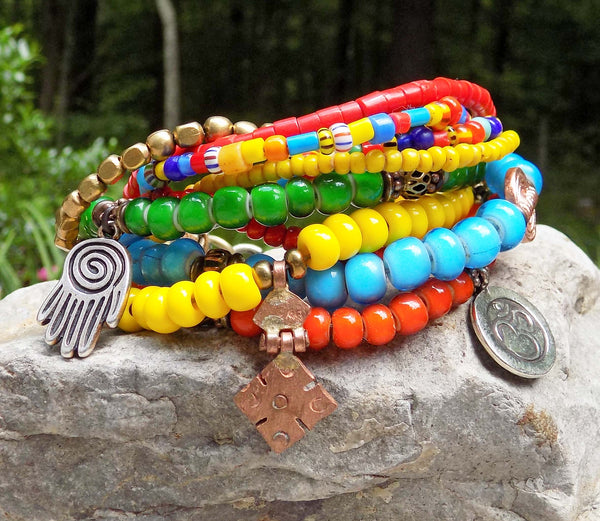 Exotic Soulful and Colorful Mixed Media Beaded Bohemian Charm Bracelet
