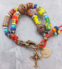 African Trade Bead Mixed Media Gypsy Bohemian Tribal Charm Bracelet
