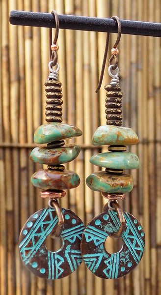 Unique and Exotic Turquoise and Bronze Disc Earrings
