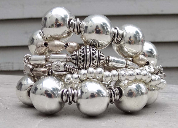 Bold Dramatic and Chunky Exotic and Modern Silver Statement Bracelet