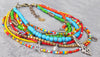Exotic and Colorful Bohemian Tribal African Trade Bead Choker Necklace