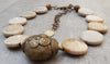 Natural Fossilized Coral & Vintage African Brass Bead Choker Necklace