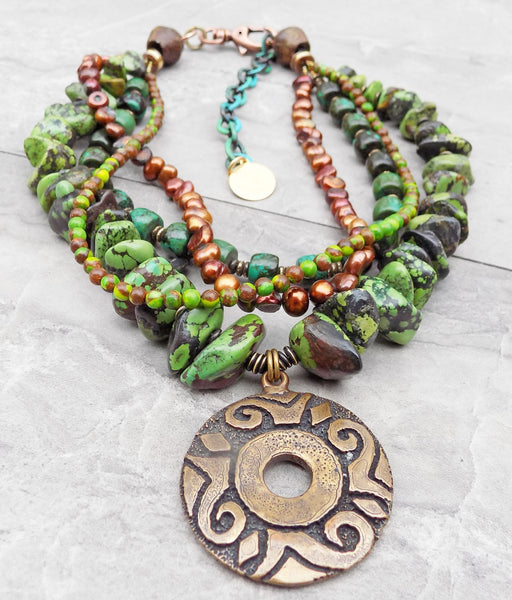 Gorgeous Green Turquoise, Copper and Bronze Medallion Pendant Necklace