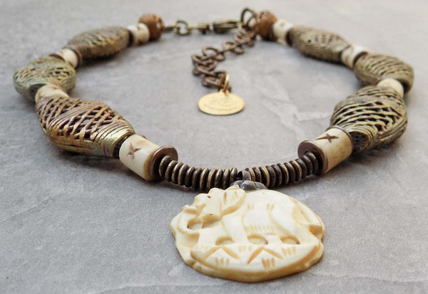 Exotic African Brass and Carved Bone Elephant Pendant Necklace