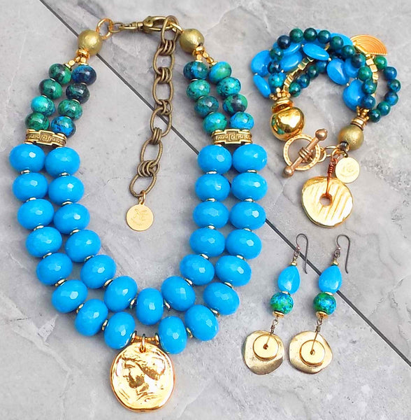 Stunning Blue & Gold Statement Summer Jewelry
