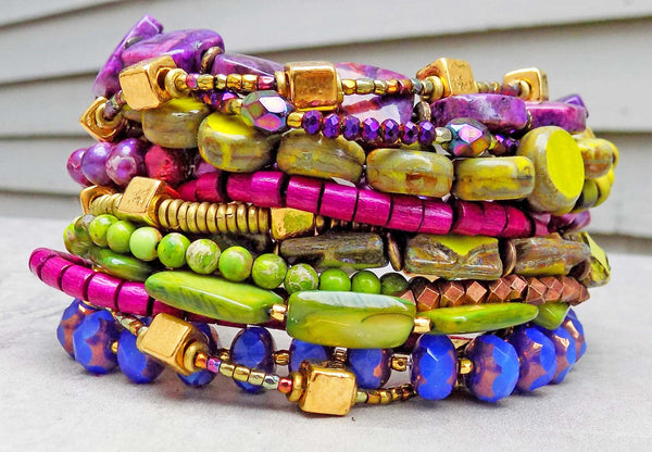 Purple, Green and Copper Multi-Strand Boho Tribal Statement Bracelet