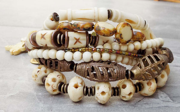 Exotic African Brass & Carved Bone Elephant & Dragonfly Charm Bracelet