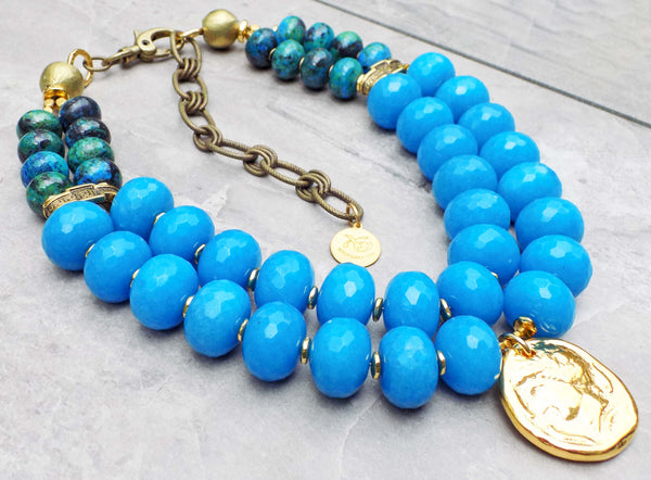 Stunning Surreal Blue Jade, Chrysocolla and Grecian Gold Coin Necklace