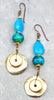 Stunning Surreal Blue Jade, Chrysocolla and Grecian Gold Coin Earrings