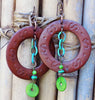 Unique and Exotic Turquoise, Green and Bronze Hoop and Chain Earrings