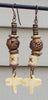 Exotic African Brass & Carved Bone Dragonfly Charm Earrings
