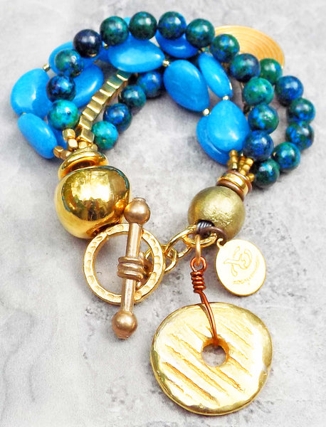 Stunning Blue & Gold Summer Bracelet
