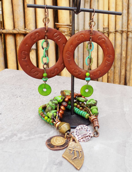 Beautiful Green Turquoise, Copper and Bronze Statement Jewelry