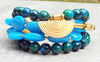Stunning Surreal Blue Jade, Chrysocolla and Grecian Gold Coin Bracelet