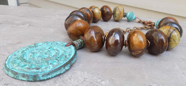 Bold & Beautiful Vintage Jade Stone and Greek Warrior Shield Necklace