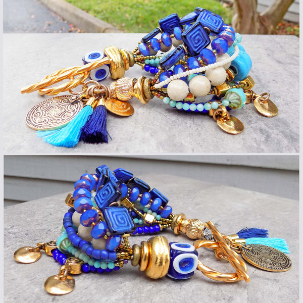 Greek Inspired Cobalt, Sky Blue, White and Gold Coin Tassel Jewelry