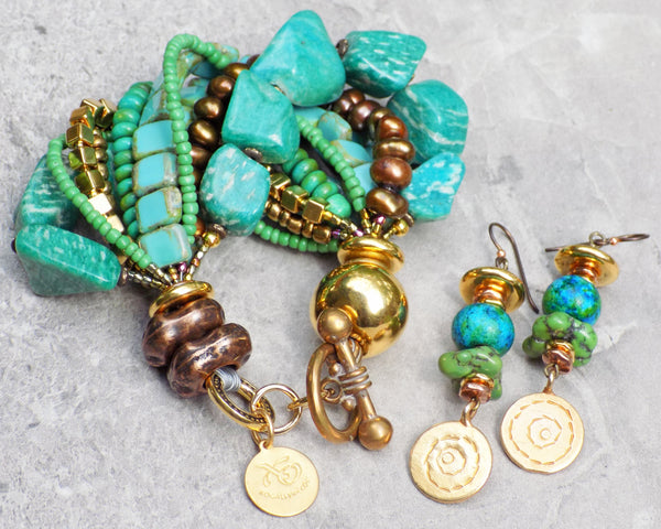 Gorgeous Russian Amazonite Green Turquoise and Gold Jewelry