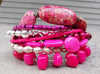 Customized Pink, Magenta and Silver Statement Charm Bracelet
