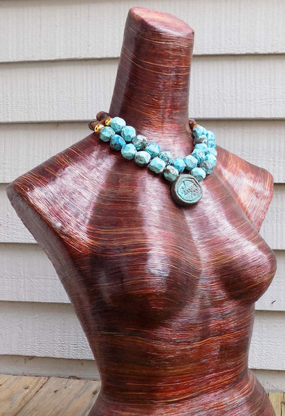 Surreal Rustic Blue Agate, Brown Tibetan Agate & Gold Pendant Necklace