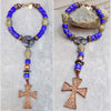 Custom Cobalt Blue, Black and Copper Cross Pendant Collar Y Necklace