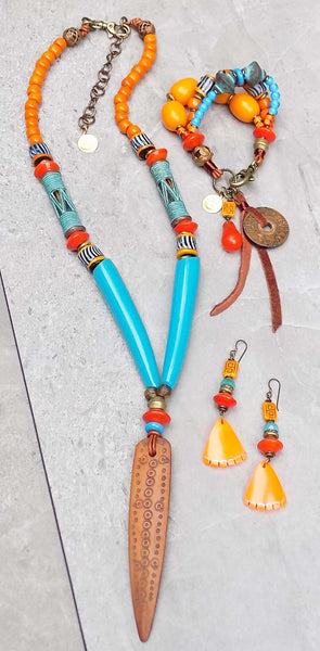 Island Tribal Bold Turquoise & Orange Bohemian African Jewelry