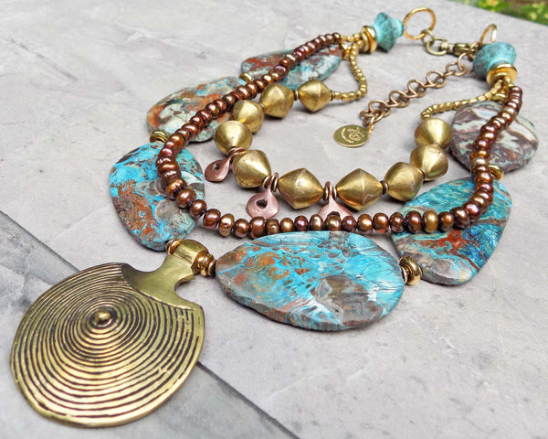 Earthy Blue Brown Agate Stone, African Brass & Tibetan Shield Necklace