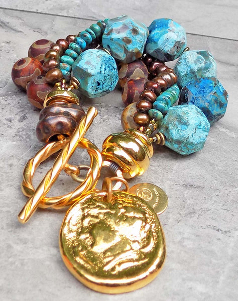 Surreal Rustic Blue Agate, Brown Tibetan Agate & Gold Charm Bracelet