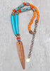 Island Tribal Bold Turquoise & Orange Bohemian Long Pendant Necklace