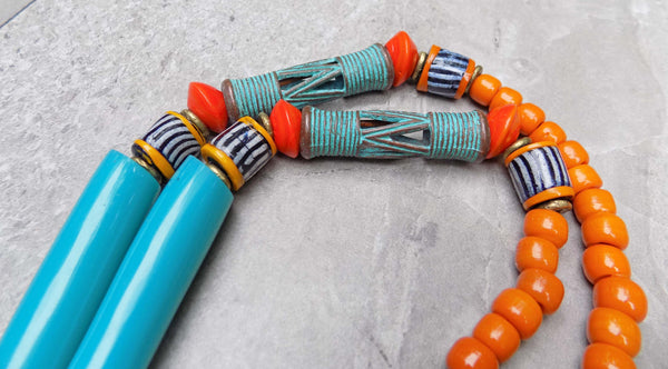 Awesome Greek Patinaed Cast Drum Tube Beads