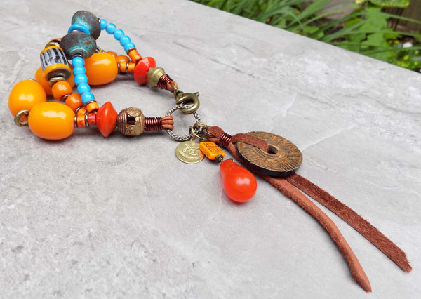 Island Tribal Bold Turquoise, Orange & Leather Bohemian Charm Bracelet