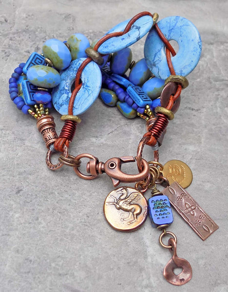 Awesome and Unique Periwinkle Blue Violet Statement Charm Bracelet